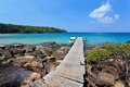 Wooden pier over the beautiful ocean at koh kood island thailand Royalty Free Stock Photography