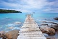 Wooden pier over the ocean before rain storm at koh kood island thailand Stock Photography