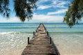 Wooden pier at resort in Phuket, Thailand. Summer, Travel, Vacat Royalty Free Stock Photo