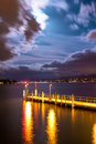 Wooden pier on Zurich lake Royalty Free Stock Photo
