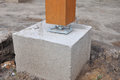 Wooden pillar on the construction site with Royalty Free Stock Photo