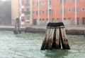 Wooden pillars in the Adriatic sea near Venice, Italy Royalty Free Stock Photo