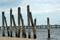 Wooden pillars by the Baltic Sea Royalty Free Stock Photo