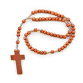 Wooden plain rosary on white background prayer beads use to count the repetitions of prayers of virgin mary Stock Images