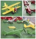 Wooden planes collection of handmade toys Stock Images
