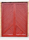 Wooden plank door red painted background Stock Photos