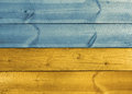 Wooden planks ukrainian flag colors painted in ukraine blue and yellow Royalty Free Stock Image