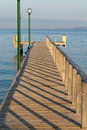 The wooden platform in dardanelles view from asia on europe Stock Photography