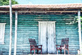 Wooden porch of the old house Royalty Free Stock Photo