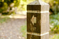 Wooden post a with directional arrow showing the route for a nature trail Stock Photos