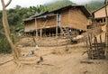 Wooden primitive home of Laotian village