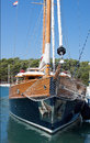 Wooden prow of sailboat front view Royalty Free Stock Image