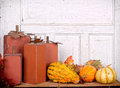 Wooden pumpkins autumn still life Stock Images