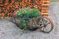 Wooden pushcart planted with summer flowers rustic decoration Royalty Free Stock Photo