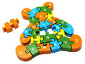 Wooden puzzle  bear Stock Photos