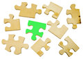 Wooden puzzle on white background Stock Images