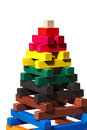 Wooden Pyramid - Toy with Colorful Pieces Royalty Free Stock Photo