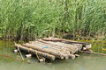 Wooden raft in the water Royalty Free Stock Photo