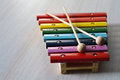 Wooden rainbow xylophone for children Royalty Free Stock Photo