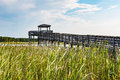 Wooden Ramp Over Marshland to Observation Point at Bodie Lighthouse Royalty Free Stock Photo