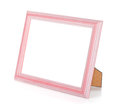 Wooden rectangular photo frame isolated white background Stock Photography