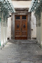 Wooden residential doorway in tuscany italy Stock Photo