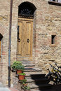 Wooden residential doorway in tuscany italy Royalty Free Stock Photography