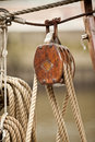 Wooden rigging block wodden of an old sailboat Stock Images