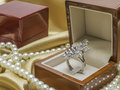 Wooden ring box is for wedding Stock Photography