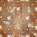 Wooden rocket, moon and stars on wooden background seamless pattern
