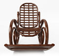 Wooden rocking chair on white background. 3D illustration
