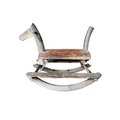Wooden rocking horse chair on white background with clipping path Royalty Free Stock Photo