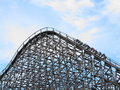 Wooden roller coaster train upwards Royalty Free Stock Photo