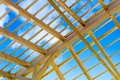 Wooden roof construction symbolic photo for home home and home financing Royalty Free Stock Photo