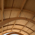 Wooden roof on a modern building square Royalty Free Stock Photos