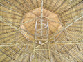 Wooden roof structure dry grass roof thailand architecture Royalty Free Stock Photography
