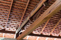 Wooden roof structure with terracotta roof tiles Royalty Free Stock Photo