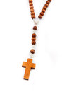 Wooden rosary beads isolated over white Stock Images