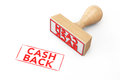 Wooden Rubber Stamp with Cash Back Sign Royalty Free Stock Photo