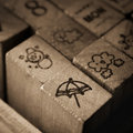 Wooden rubber stamps with meteorology symbol Icons. Royalty Free Stock Photo