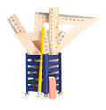 Wooden rulers and school stationery isolated on white background Stock Photography