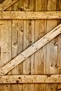 Wooden rustic barn door detail.