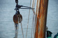 Wooden sailboat rigging and ropes Royalty Free Stock Photo