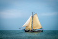 Wooden sailboat traditional dutch under sail waddenzee Stock Photography