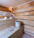 Wooden sauna interior of a Stock Photo