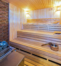 Wooden sauna interior of a Royalty Free Stock Photography
