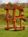 Wooden sculpture in arboleda near bilbao la zugaztieta park recreational area valle de trapaga biscay basque country spain Stock Images