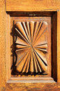 Wooden sculpture door bas relief on a church Royalty Free Stock Image