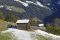 Wooden shed on the field in alp landscapes Stock Images