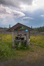 Wooden shed swedish scenery scenic landscape with near ostersund in northern sweden on an overcast day Stock Images